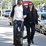 Jennifer Garner and Ben Affleck take their dog out in LA.