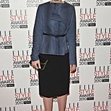 At the ELLE Style Awards, Carey Mulligan topped her sleek black basics with a blue python jacket by The Row.