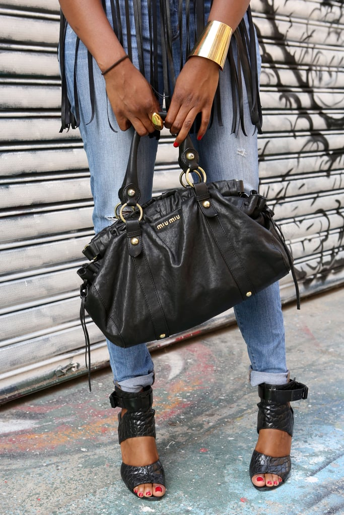 A slouchy leather satchel played in perfectly to this mix — fringe, gold jewels, and strappy heels.