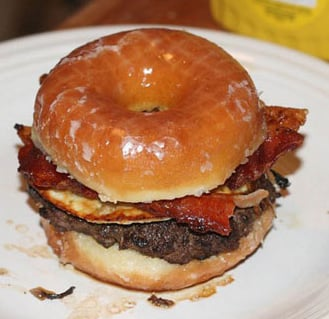 Donut Bacon Egg Burger