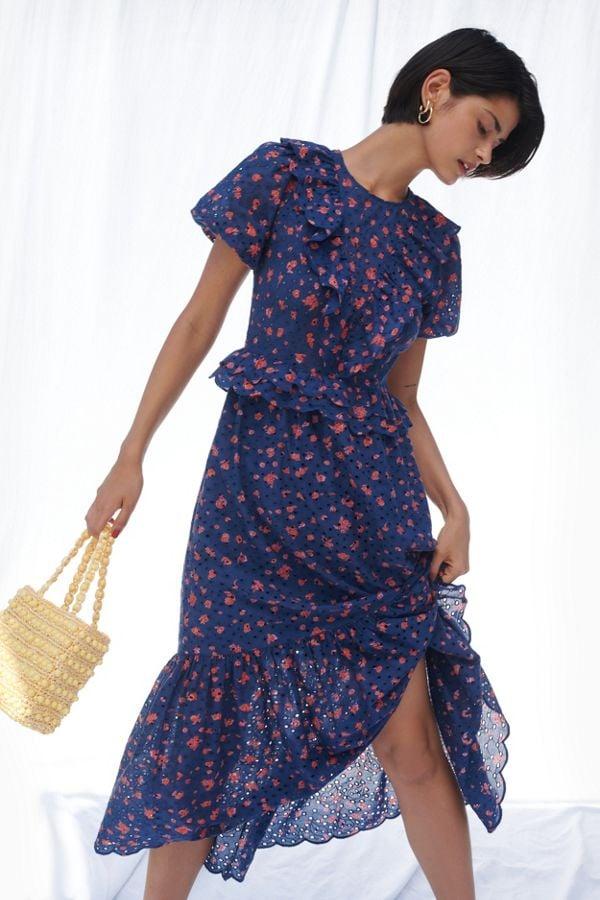 UO Uma Eyelet Ruffle Maxi Dress