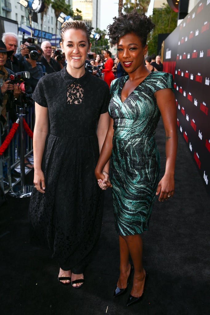 It looks like marriage is treating Lauren Morelli and Samira Wiley exceptionally well. The couple, who tied the knot in March after a five-month engagement, had that newlywed glow while attending the LA premiere of Samira's new show, The Handmaid's Tale, on Tuesday night. They looked adorable as usual, with Samira rocking a splashy printed dress, while the Orange Is the New Black writer opted for black lace. While it might not have been as fun as their honeymoon, they still couldn't stop smiling.