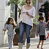Jennifer Lopez held hands with Emme Anthony as they shopped with Max Anthony.