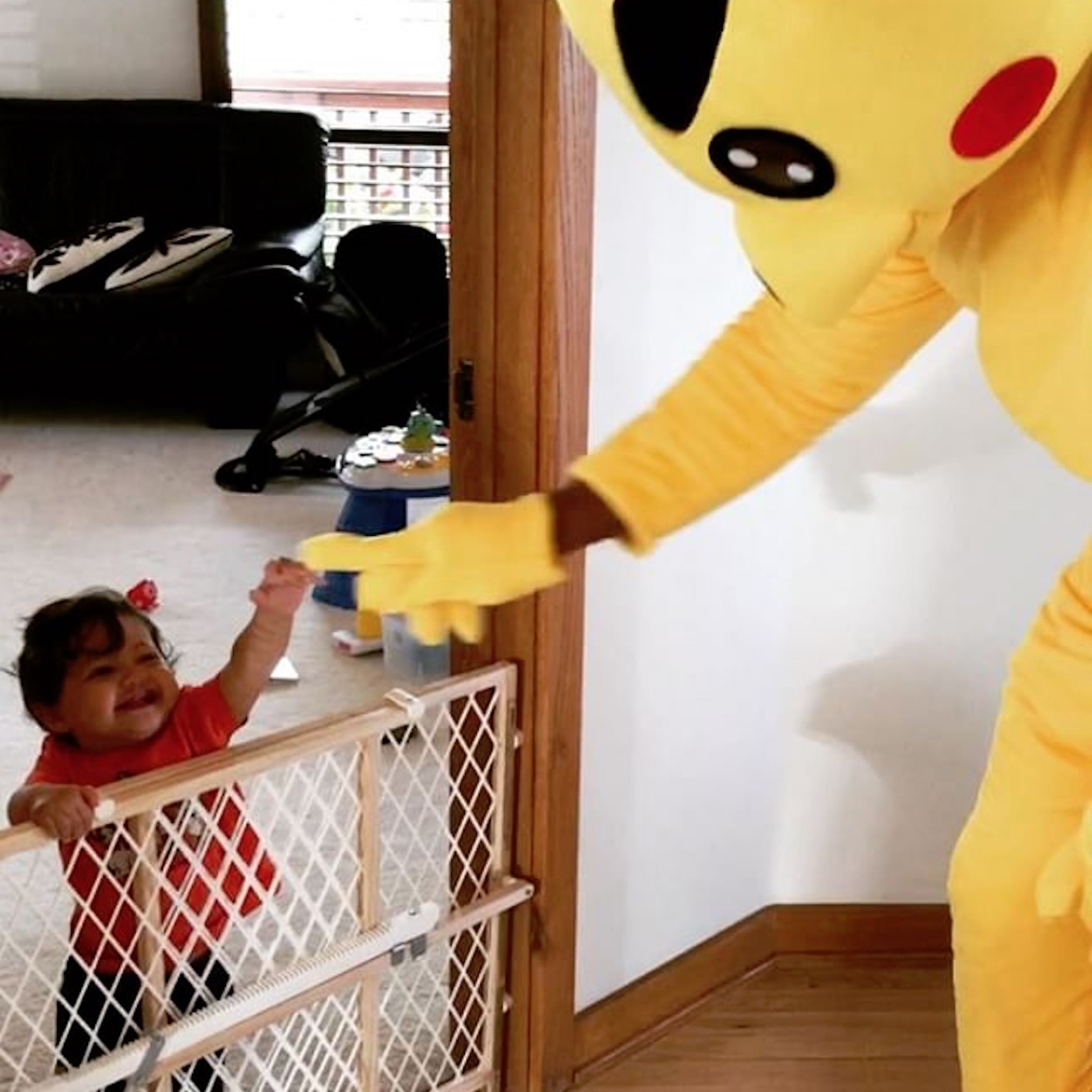 dwayne johnson's pikachu halloween costume with baby jasmine