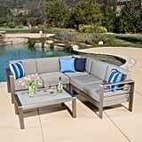 San Lucas Aluminum Sofa Set With Khaki Cushions & Glass Table