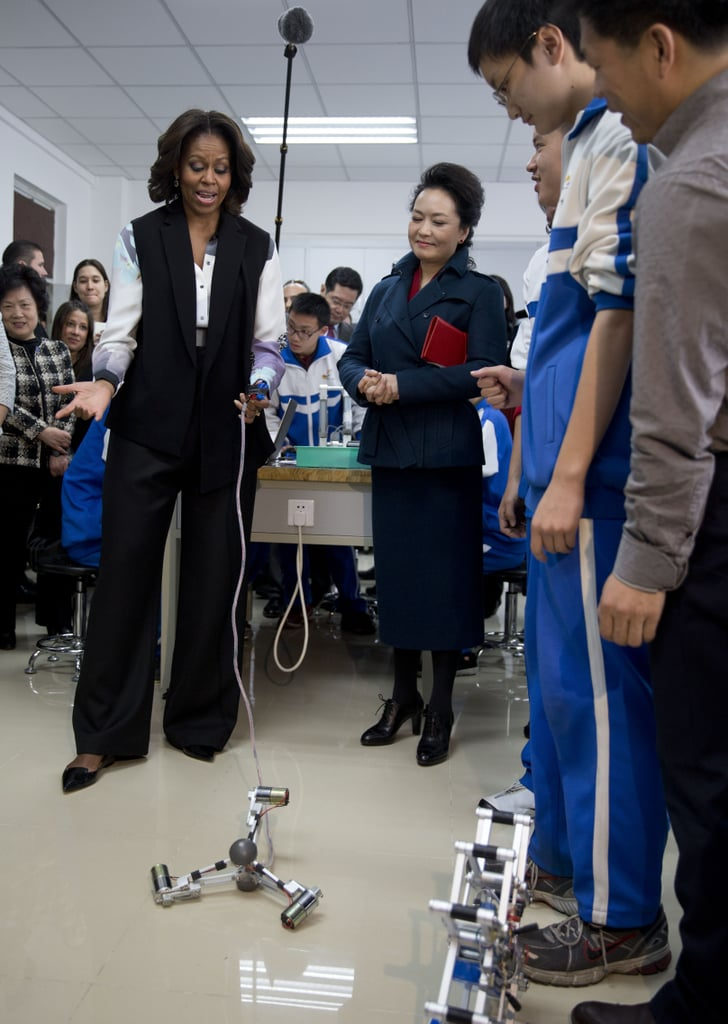 Michelle tried her hand at controlling the mechanical robots.