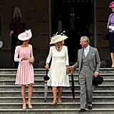 Kate Middleton attended the event held at Buckingham Palace with Camilla Parker Bowles and Prince Charles.