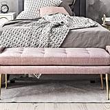 TOV Furniture Eileen Collection Modern Velvet Bench