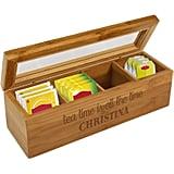 Tea Time Personalized Name Wood Tea Box