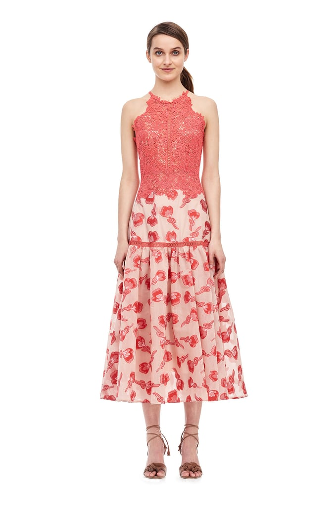 Have an outdoor wedding to attend? Wear this soft pink Rebecca Taylor Floral Jacquard Midi Dress ($795).