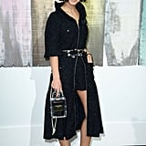 Miroslava Duma took a walk on the dark side in a sleek black pairing.