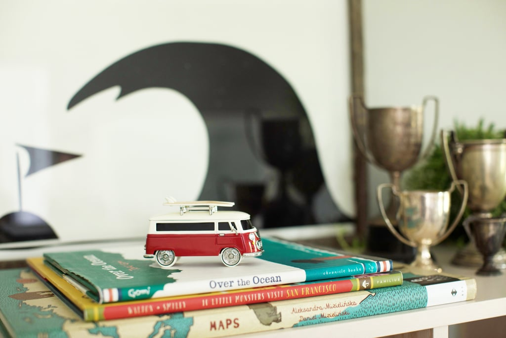 Pulling out favorite toys and books with beautiful illustrations is a great way to decorate with what you have. This little surfer-friendly VW bus reminds me of the car my grandparents had when I was a kid, and I can't help but smile.