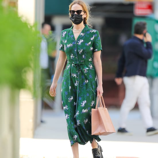 Shop Jennifer Lawrence's Green Cat-Print HVN Dress