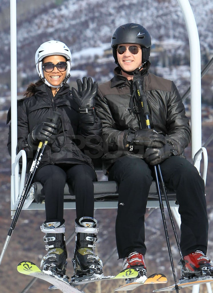 Zoe Saldana and her fiancé Keith Britton continued to make the most of their vacation in Aspen with a little skiing yesterday afternoon. Keith looks to be the expert between the two, and he helped guide Zoe down the slopes. The duo aren't the only celebrities to head to Colorado for the holiday season — Goldie Hawn, Kurt Russell, and Kate Hudson have been enjoying the Winter wonderland as well. Zoe has a lot to celebrate as 2010 comes to a close since this year Keith popped the question, she landed a major Calvin Klein campaign, and she earned a spot among FabSugar TV's favorite fashionable starlets with her winning style transformation.