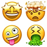 These emoji are star-struck, exploding head, crazy face, and vomiting.