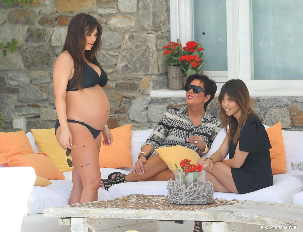 Kim and Kourtney Kardashian joined Kris Jenner in Mykonos, Greece.
