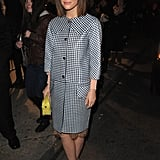 Rose Byrne added interest to a conservative look with a pair of shiny heels.