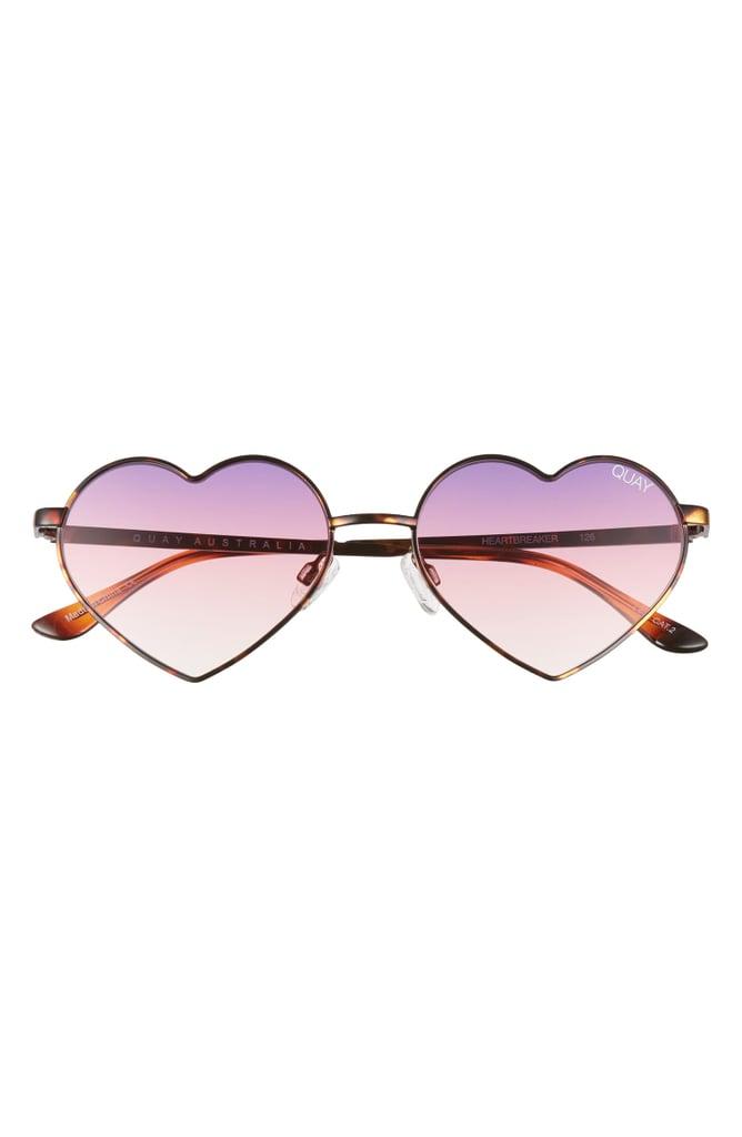 Quay Australia Heartbreaker 55mm Tinted Heart Sunglasses