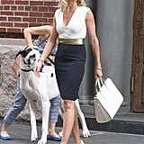 On the set of The Other Woman, Cameron Diaz showed off the perfect professional-chic ensemble. To get her look, tuck a sleeveless white top into a navy pencil skirt, then add a gold belt, pointy white pumps, and a white structured bag.