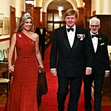 Queen Máxima and King Willem-Alexander attend a state dinner in Wellington, New Zealand.