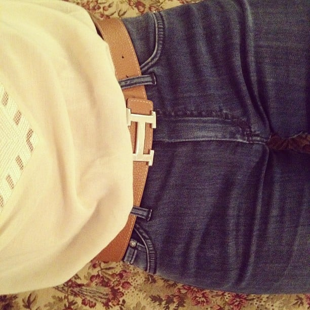 Miranda Kerr showed off her Acne jeans and Hermès belt. Source: Instagram user Mirandakerrverified