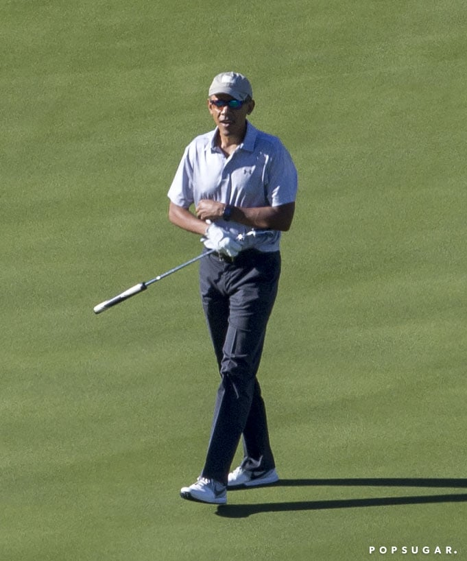 "Barack Obama's last day as president was on Jan. 19, so how is he spending his first real vacation in eight years? By playing a round of golf, of course. On Saturday, the former president hit up Oracle founder Larry Ellison's private golf club in Rancho Mirage, CA, where he was spotted lining up his shot and driving around the course. Barack is currently vacationing with wife Michelle and daughters Sasha and Malia, and on Inauguration Day, the family released a video sharing their plans for the coming months. ""After eight years in the White House, Michelle and I now rejoin all of you as private citizens,"" Barack said. Michelle then explained, ""First, we're going to take a little break. We're finally going to get some sleep and take some time to be with our family and just be still for a little bit."" If anyone deserves a vacation, it's definitely Barack!      Related:                                                                SNL's Tribute to Barack Obama Will Make You Cry All Over Again                                                                   This Heartfelt, Hilarious Parody Video Captures All Our Feelings About Obama Leaving Office"