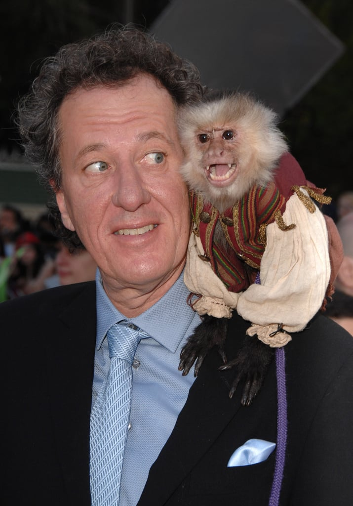 Pirates of the Caribbean: At World's End star Geoffrey Rush seems surprised to find his costar upon his shoulder, in 2007.