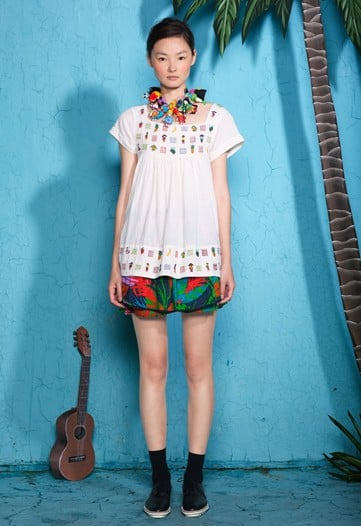 ">> Max Osterweis and Erin Beatty sourced Hawaii and its tourists for the beach scenes and florals that graced their heavily-printed Suno Resort 2012 collection. ""Resort is always less about artistic expression and more about having fun,"" Beatty said. ""After all, isn't going on vacation supposed to be about having a good time?"" Necklaces were fashioned from South American worry dolls and swimwear pieces, too, got some play."