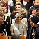 Crown Princess Victoria of Sweden dared to wear one big rose-adorned hat at the inauguration of King Willem Alexander in April.