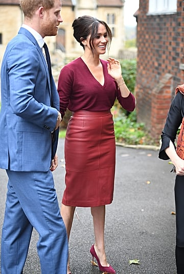 Meghan Markle's Hugo Boss Burgundy Leather Skirt