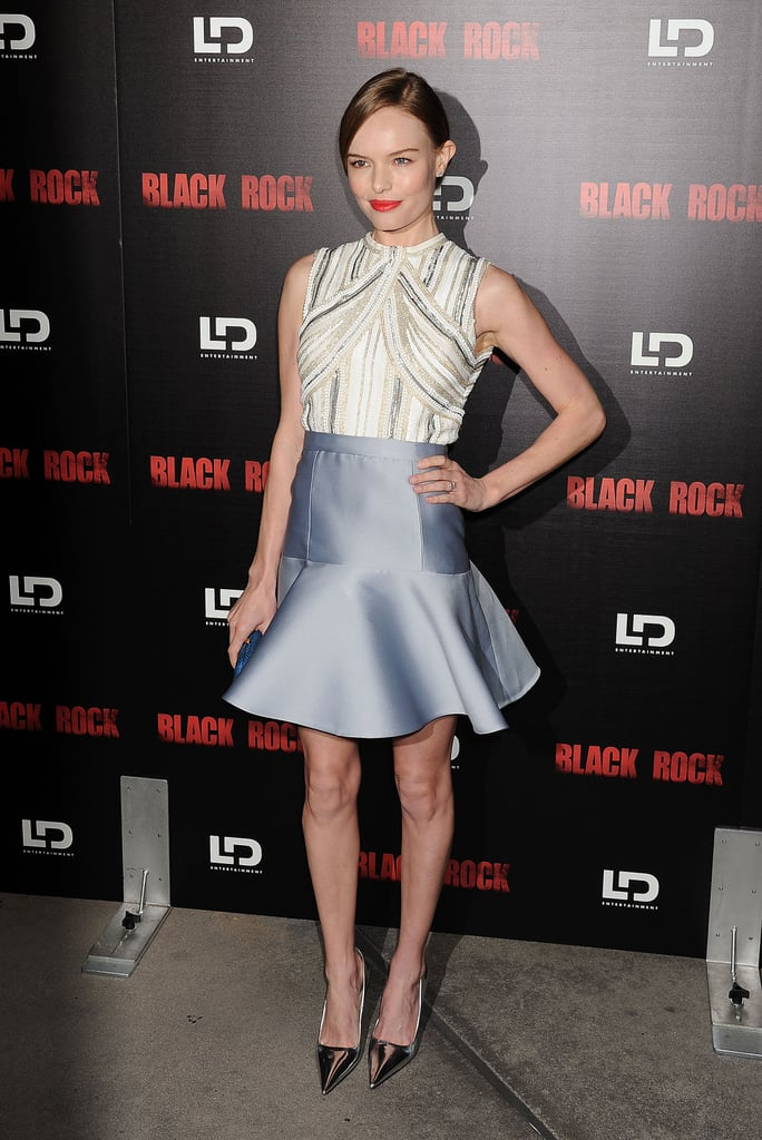Trust Kate Bosworth to assemble the perfect cocktail look in polished and girlie Miu Miu. Now we want a flared skirt, too.