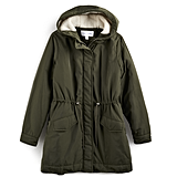 Sherpa-Hood Drawstring Parka in Green