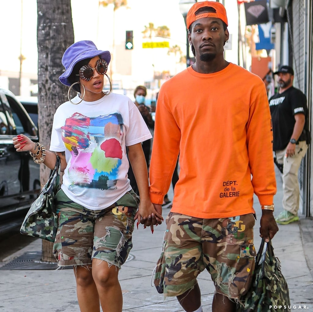 Cardi B and Offset Wear Matching Camo Shorts and Birkin Bags