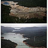 An aerial view of Lake Oroville.