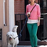 Olivia Wilde took her dog, Paco, for a walk through NYC in April 2013.