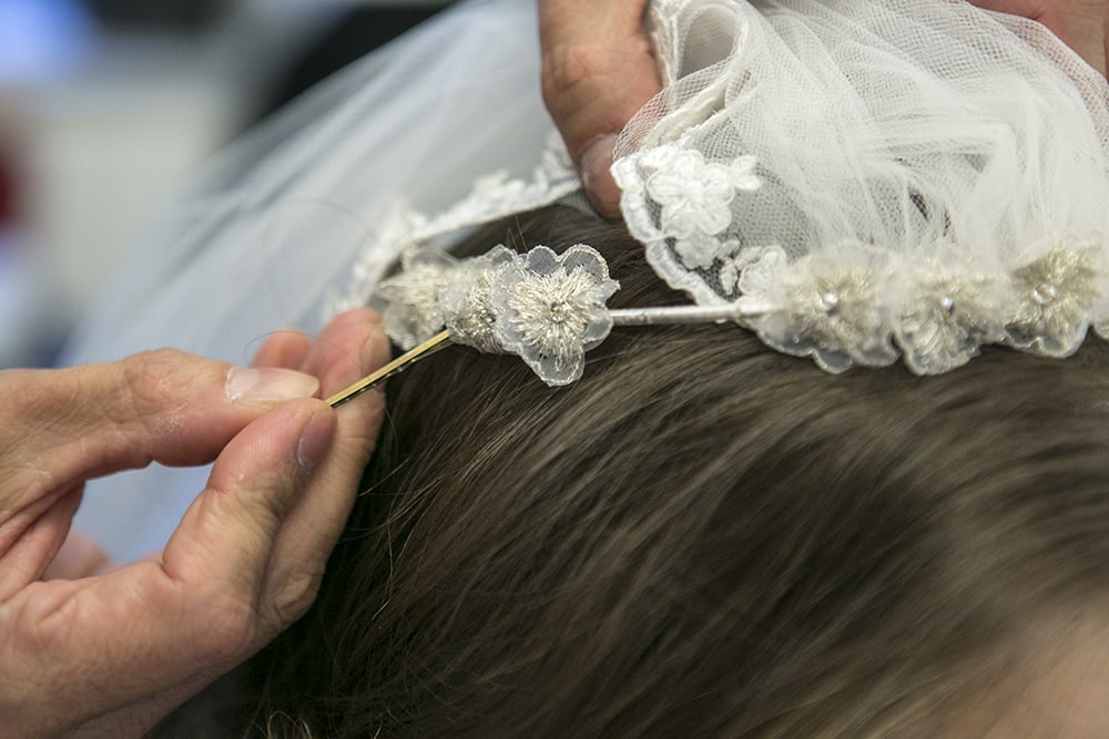 Step Seven: Beach Waves Under a Veil For the Ceremony