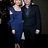 While she posed with Mark Ruffalo, we got a better view of the figure-flattering number — and her neutral-coloured shoes.