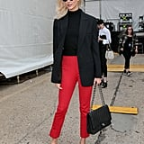 Karlie Kloss Styled a Blazer With a Turtleneck and Red Trousers