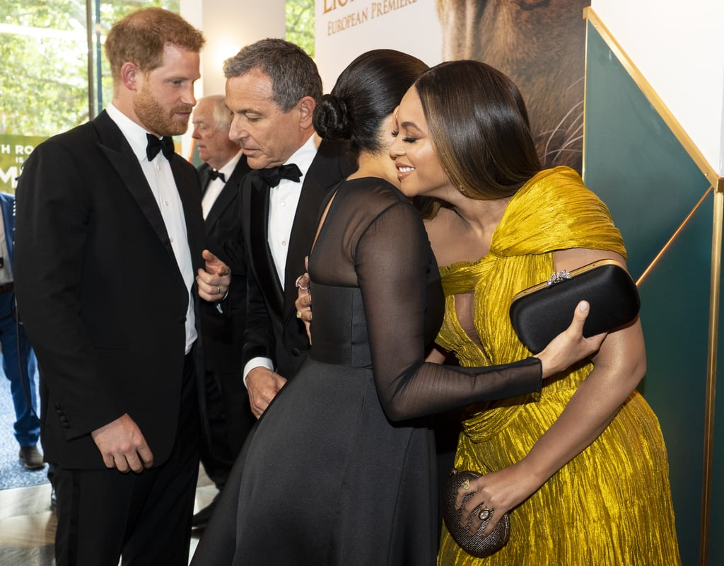 "You're going to want to sit down for this: Beyoncé, JAY-Z, Meghan Markle, and Prince Harry have finally met! On Sunday, the quartet united at the London premiere of The Lion King – which stars Beyoncé as the voice of adult Nala — inside the venue. Naturally, they all looked absolutely sublime. While Bey rocked a golden gown and Meghan modeled a little black dress, JAY-Z and Prince Harry both looked dapper in tuxedos. At their meeting, Bey and Meghan gave each other a hug as the singer called the duchess ""my princess"" before they all had a nice chat. Beyoncé shared her excitement over meeting the royals, telling Meghan, ""We love you guys."" They even spoke about their kids and the royal duo's new baby, Archie, whom they welcomed in May. ""Your baby is so beautiful,"" Beyoncé said to the duchess. Beyoncé and JAY-Z certainly know what it's like welcoming a newborn. The two share 7-year-old daughter Blue Ivy — who walked the red carpet with Bey at The Lion King's LA premiere — and 2-year-old twins Rumi and Sir.  Beyoncé, JAY-Z, Meghan, and Harry's union comes after Bey and Jay honored the Duke and Duchess of Sussex in February while accepting their Brit award.  Bey also gave Meghan a special shout-out on her personal website, writing, ""She and Prince Harry have continued to push the race relations dialogue forward both near and far. In honor of Black History Month, we bow down to one of our Melanated Monas.""  Seeing them all together is all we've ever wanted, and we're so glad it finally happened. Ahead, watch them meet and enjoy a casual conversation while the rest of us freak out!      Related:                                                                                                           Who's in Meghan Markle's Inner Circle? See Her Powerful Squad of BFFs"