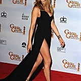 At the 2010 Golden Globes, Jennifer wore a Valentino gown that featured a high slit.