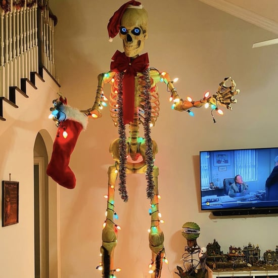 Photos of Home Depot's Halloween Skeleton in Holiday Decor