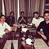 Rob had a special dinner with his guys before his big day.