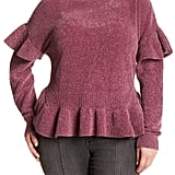 Melrose and Market Ruffle Chenille Sweater