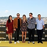 Shannon McIntosh, Leonardo DiCaprio, Margot Robbie, Quentin Tarantino, and David Heyman at the Once Upon a Time in Hollywood photocall in Rome.