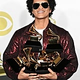 In 2018, Bruno Mars took home not one, but six trophies for best album, song of the year, record of the year, best R&B album, best R&B song, and best R&B performance.