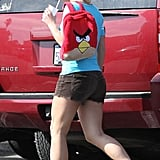 Britney Spears carried an Angry Birds backpack.