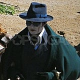 Johnny Depp in scary makeup for Dark Shadows.