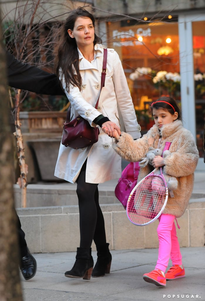 Suri Picks Up a Pink Racket For Tennis With Katie Holmes