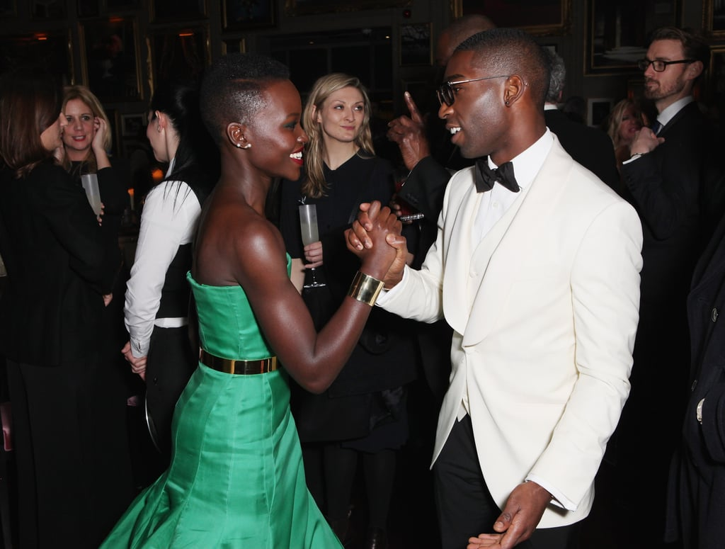 She and rapper Tinie Tempah shook hands at the BAFTA afterparty.