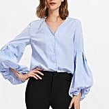 Shein Pleated Sleeve Striped Blouse